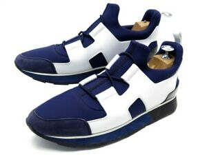 NEUF CHAUSSURES HERMES SNEAKERS PLAYER 39.5 BASKETS TOILE BLEU CUIR BLANC 795€