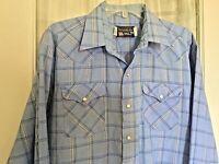 MENS Panhandle Slim Blue White Plaid Pearl Snap XL 17 / 34 western cowboy shirt