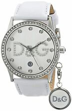 NEW Dolce & Gabbana DW0091 Women's Gloria White Leather Silver Watch With Charm