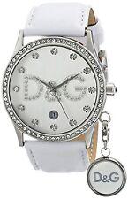 NEU Dolce & Gabbana DW0091 Damen Gloria weiß Leder silber Uhr mit Charme