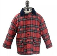 Toddler Boy's Quilted Red Plaid Tartan Vintage Coat Jacket Made In Italy Size 3T