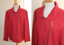 IMAN -Sz 2X Gorgeous Red Suede Leather Zip Moto Chic Elegant Jacket