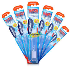 6x Wisdom Folding Travel Medium Toothbrush Compact Pocket Size For Holiday