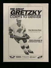 SEPT 20 1989 EXH GM PROGRAM LA KINGS vs QUEBEC NORDIQUES IN DENVER WAYNE GRETZKY