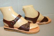 5 Nos Vtg 1970s Flat Sandal Boho Double Buckle Brown Leather 70s Dunham Shoe