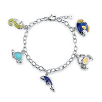 Dolphin Crab Turtle Seahorse Created Opal Charm Link Bracelet Sterling Silver