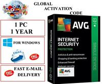 AVG INTERNET SECURITY 2021 1 PC 1 YEAR EU / UK / GLOBAL KEY (EMAIL DOWNLOAD)