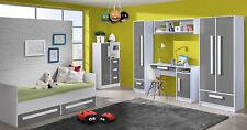 Jugendzimmer Komplett Kinderzimmer Kleiderschrank Bett weiß / Hochglanz 20832