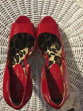 "Shoes, JESSICA SIMPSON, Classic open toe red patent pumps, 5"" stilletto heel, SZ"