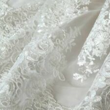 "Lace Tulle Embroidery Floral Fabric Wedding Dress 51"" Width By Metre Fairy Comfy"