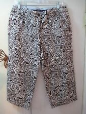 Land's End  -  Brown and Beige Pattern 100% Cotton Capri Pants -  Size 10 Petite