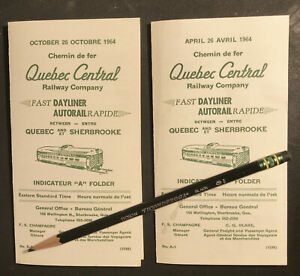 Lot of Two: Quebec Central Railway QC Timetables, Quebec-Sherbrooke 1964