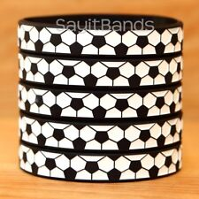 5 Soccer Ball Wristbands - Silicone Bracelets - Debossed Quality Wrist Bands