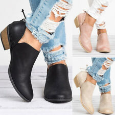 Womens Low Top Boots PU Leather Cut-out Low Chunky Heel Casual Short Shoes Roman