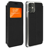 Window flip case, flip wallet case with stand for Apple iPhone 11 – Black