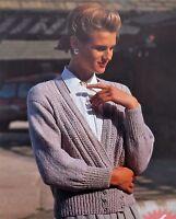 "Ladies Knitting Pattern Vintage Crossover Cardigan 32-42""/81-107 cm DK  L5009"