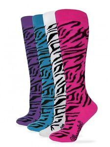 Wrangler Ladies Girls Zebra Boot Socks - Hot Pink or Teal