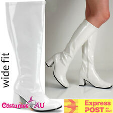 Womens White Gogo 1960s 60s go go Boots Knee High Boots Ladies 70s 1970s Shoes