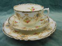 ANTIQUE VINTAGE ROYAL ALBERT CROWN CHINA TEA SET TRIO HAND PAINTED C1900-1919