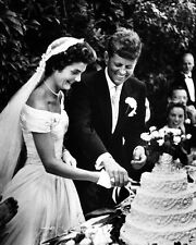 John and Jacqueline Kennedy cut wedding cake after being married New 8x10 Photo