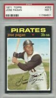 1971 Topps baseball card #282 Jose Pagan, Pittsburgh Pirates graded PSA 7