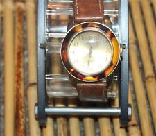 Vintage Ladies Novella Lucite Bezel Gold Tone Analog Quartz Watch F71