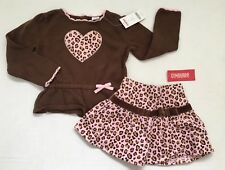 NWT Gymboree 3 3T Kitty Glamour Brown Leopard Heart Sweater Pink Corduroy Skirt