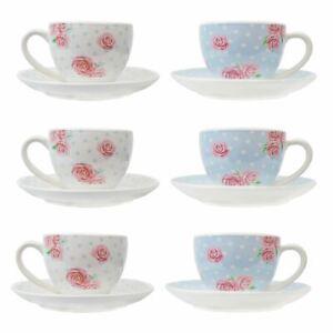 6 Tea Cups Saucers Set Afternoon Tea Coffee Tableware Porcelain Vintage Rose