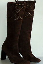 FILIPPO RAPHAEL KneeHiBrownStuddedSuede Size38 rrp$275
