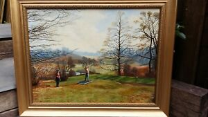 Original oil painting Golf t off signed and in gilt frame