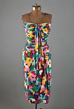 VTG Women's Oscar De La Renta Strapless Multicolor Gown Sz S 1980s Dress Miss D