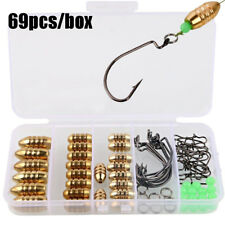 Fishing Sinkers Set Brass Sinker Weights Jig Hook Swivel Ring Connector with Box