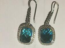 DAVID YURMAN NOBLESSE 10 X 8 BLUE TOPAZ DIAMOND STERLING SILVER DANGLE EARRINGS