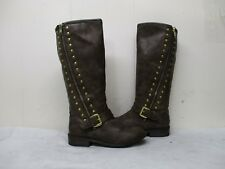 STEVE MADDEN JBrylee Brown Zip Buckle Riding Boots Youth Size 2