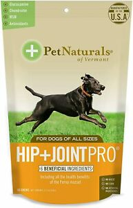 Pet Naturals of Vermont Hip + Joint Pro Supplement for Dogs 60 Chews 11.2oz