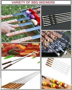 1-100X BBQ Skewers Stainless Steel Flat Metal Camping Grill Needle Kebab Sticks