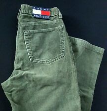 90s Tommy Hilfiger casual green Pants corduroy Jeans big logo patch 33/29