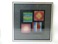 Victor Vasarely Kunstdruck Lithographie Farbserigraphie Vega-Noir