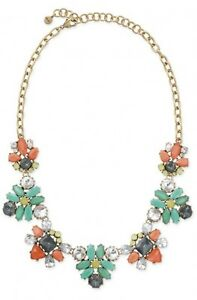 Stella & Dot Elodie Multi Color Crystal Gold Tone Chain Statement Necklace