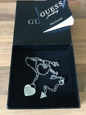 "Gorgeous 17.5"" GUESS Heart Shape Silver Tone Necklace Boxed + Certificate"