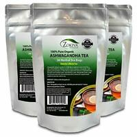 Ashwagandha Tea Organic 3-PACK 90 Count (Withania Somnifera) 100% Pure
