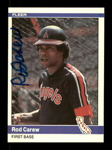 Rod Carew Autographed Signed 1984 Fleer Auto Card #511 California Angels 186645
