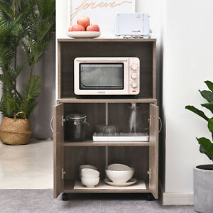 HOMCOM Rolling Kitchen Trolley Microwave Cart 2-Door Cabinet  Shelves Gray