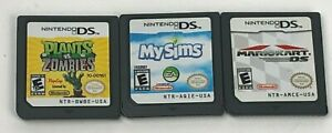 Lot of 3 Nintendo DS Games Plants vs. Zombies  My Sims & Mario Kart DS Cart Only