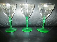 3 Rare Bryce Crystal Green Stem Shell Etch Clear Bowl  Water Goblet Wine Glasses