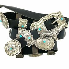 """Handmade Native American Sterling Silver Turquoise Concho Belt 46"""""""