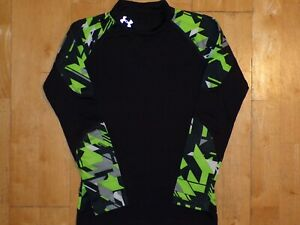 UNDER ARMOUR Youth Boys COLD GEAR Small S Black Long Sleeve FITTED Mock Shirt
