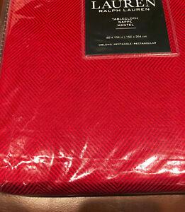 "Ralph Lauren GEOMETRIC Grid 60 x 104"" Barn Red Tablecloth -- NWT"