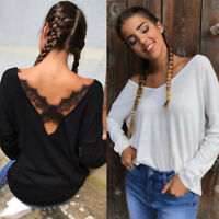 Womens Sexy V-Neck Tops Shirt Long Sleeve Loose Blouse Back Lace Crochet T-Shirt