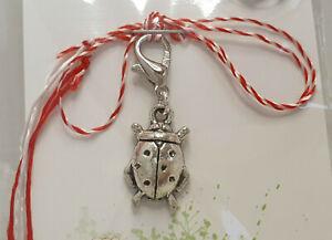 Glücksbringer Martisor, Charm, Anhänger als Marienkäfer aus Metall, handmade